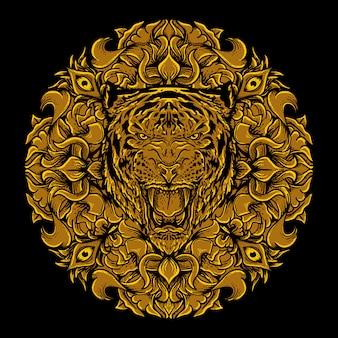 Illustrazione dell'opera d'arte e disegno della maglietta ornamento dorato dell'incisione della testa della tigre