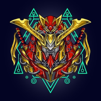 Illustrazione di opere d'arte e t-shirt mecha samurai testa di robot ronin con geometria sacra