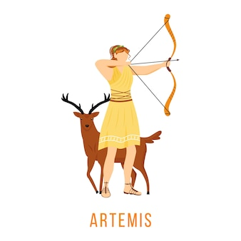 Appartamento artemis. antica divinità greca. dea della luna, caccia e tiro con l'arco. mitologia. figura mitologica divina. personaggio dei cartoni animati isolato su priorità bassa bianca
