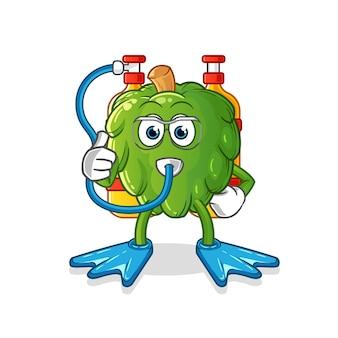 Mascotte dei subacquei di carciofo. cartone animato