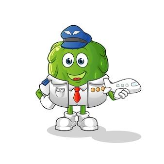 Mascotte pilota di carciofo. cartone animato