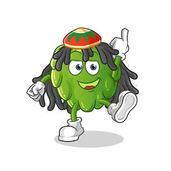 Cartone animato di ragazzo reggae di carciofo. mascotte dei cartoni animati