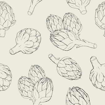 Modello senza cuciture di carciofo con pianta disegnata a mano. illustrazione di contorno