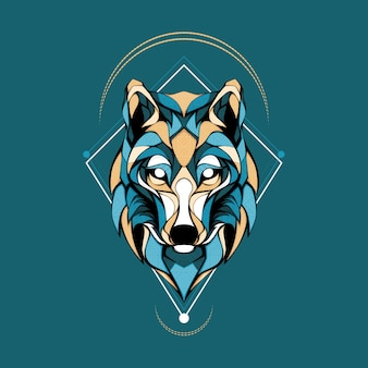 Illustrazione del logo geometrico della testa di lupo artico