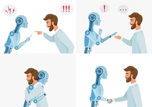 Concetto di interazione di intelligenza artificiale. umano e robot. comunicazione robotica umana e moderna. illustrazione di tecnologia aziendale di concetto