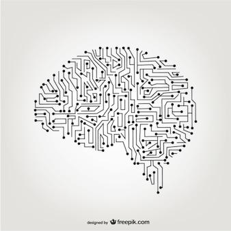 Vettoriale cervello artificiale