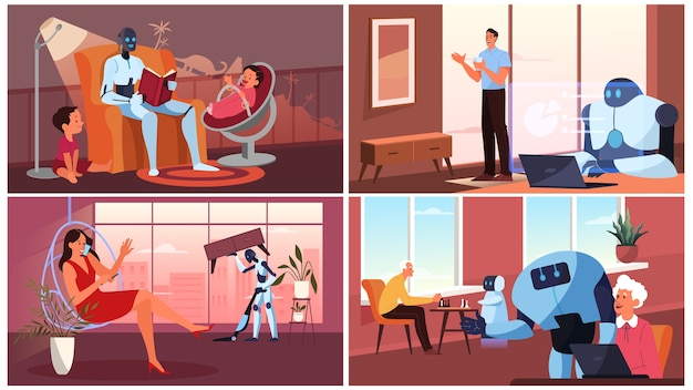 Intelligenza artificiale come parte della routine umana. robot personale domestico per l'assistenza alle persone. l'intelligenza artificiale aiuta le persone nella loro vita, il futuro concetto di tecnologia. set di illustrazione