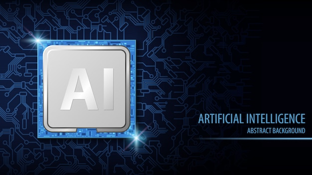 Sfondo astratto di intelligenza artificiale, chip di cpu elettronico