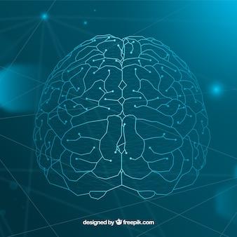 Sfondo di intelligenza artificiale con cervello Vettore Premium