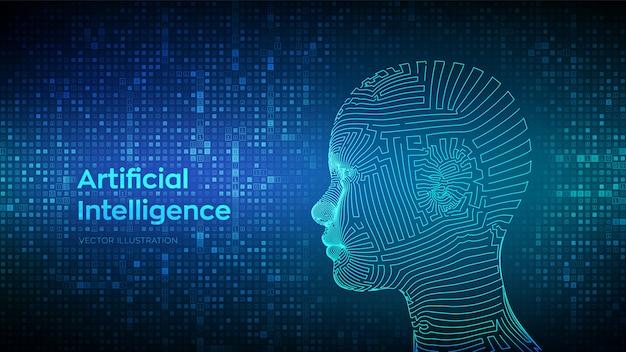 Concetto di intelligenza artificiale. viso umano digitale astratto del wireframe sul fondo di codice binario.