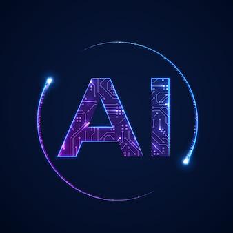 Concetto di intelligenza artificiale. sfondo del circuito stampato con logo ai. illustrazione