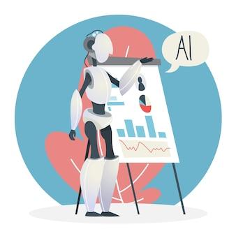 Concetto di intelligenza artificiale. tecnologia futuristica. progresso della scienza e realtà virtuale. il personaggio cyber fa una presentazione aziendale. idea di machine learning. illustrazione