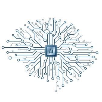 Intelligenza artificiale. cervello tecnologico cyborg su priorità bassa bianca.