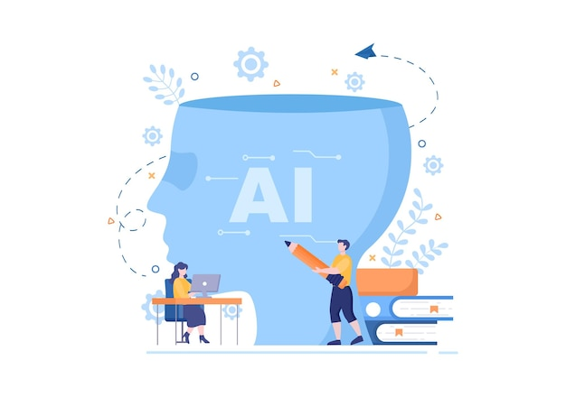 Intelligenza artificiale cervello digitale tecnologia e concetto di ingegneria con dati o sistemi del programmatore che possono essere impostati in un contesto scientifico. illustrazione vettoriale