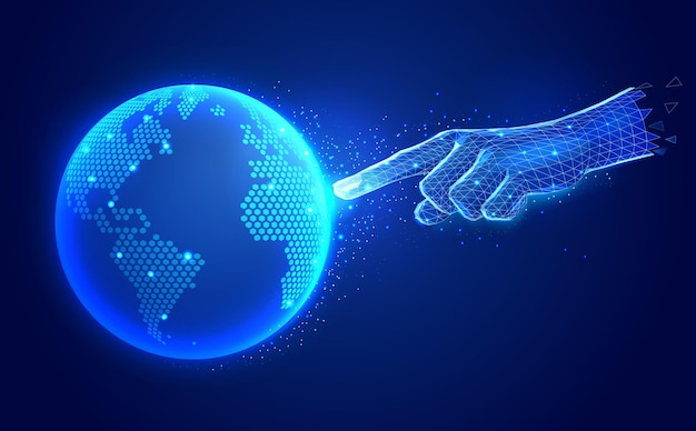 Illustrazione di tecnologia di comunicazione digitale di intelligenza artificiale Vettore Premium