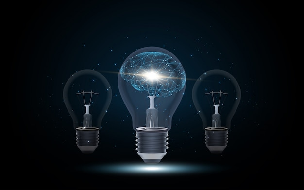 Intelligenza artificiale cervello umano all'interno della lampadina