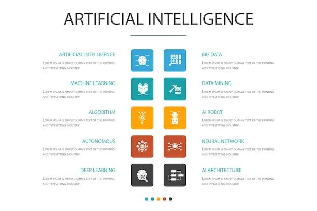 Intelligenza artificiale infografica 10 concetto di opzione.apprendimento automatico, algoritmo, apprendimento profondo, icone semplici della rete neurale