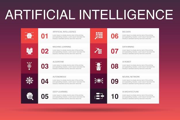 Modello di opzione infografica 10 di intelligenza artificiale. apprendimento automatico, algoritmo, apprendimento profondo, icone semplici della rete neurale