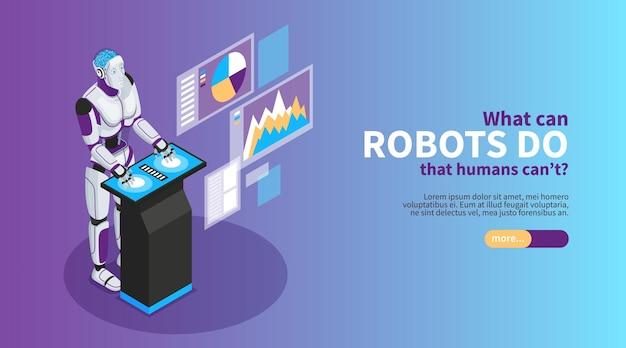 Insegna isometrica di intelligenza artificiale con l'illustrazione di simboli di benefici del robot