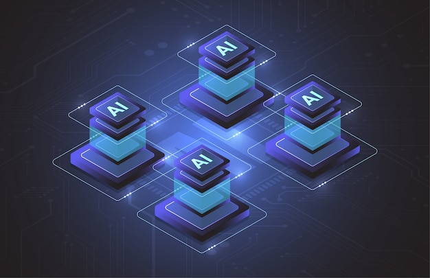 Chipset isometrico di intelligenza artificiale sul circuito nel concetto futuristico