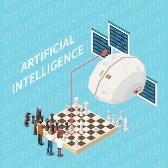 Composizione isometrica di intelligenza artificiale con immagine del cervello tecnologico che gioca a scacchi con un gruppo di scienziati con testo