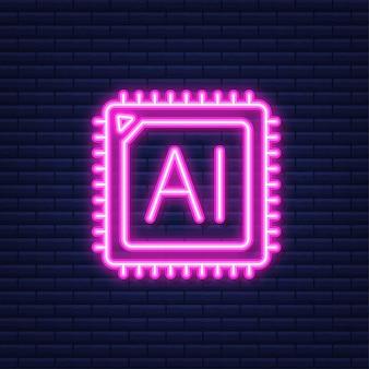 Pagina di destinazione dell'intelligenza artificiale. icona dell'ai. illustrazione vettoriale. icona al neon.