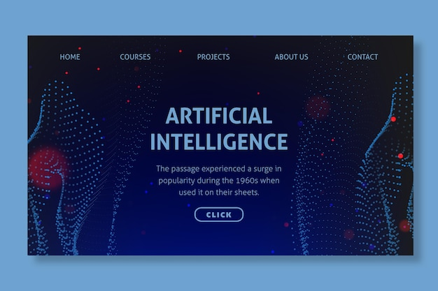 Tema della pagina di destinazione dell'intelligenza artificiale
