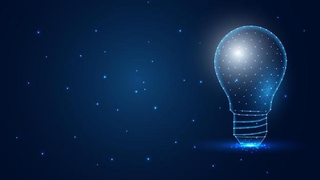 Illustrazione di vettore del wireframe del poligono della lampadina di intelligenza artificiale