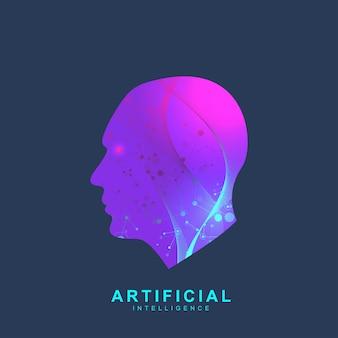 Logo di intelligenza artificiale. intelligenza artificiale e concetto di apprendimento automatico. simbolo di vettore ai. reti neurali e altri concetti di tecnologie moderne. concetto di fantascienza di tecnologia.