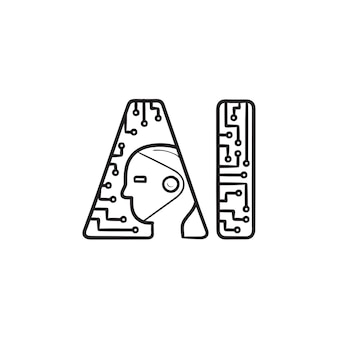 Icona di doodle di contorni disegnati a mano logo di intelligenza artificiale. innovazione tecnologia robotica, concetto ai Vettore Premium