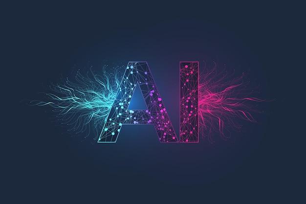 Effetto plesso logo intelligenza artificiale. intelligenza artificiale e concetto di apprendimento automatico. simbolo di vettore ai. reti neurali e altri concetti di tecnologie moderne. concetto di fantascienza di tecnologia.