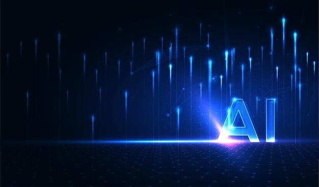 Intelligenza artificiale machine learning ai dati deep learning per future opere d'arte tecnologiche Vettore Premium
