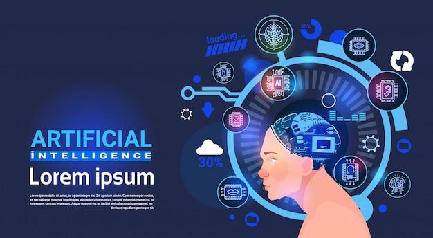 Insegna dei robot di tecnologia moderna del cervello cyber capo di intelligenza artificiale maschio con lo spazio della copia