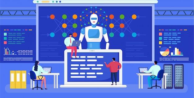 Intelligenza artificiale, rete neurale, rete di persone minuscole dei cartoni animati, tecnologia futuristica ai sfondo