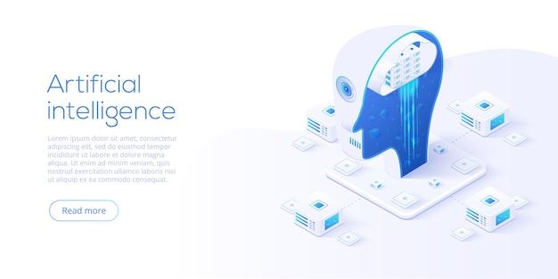 Intelligenza artificiale o concetto di rete neurale in isometrico.