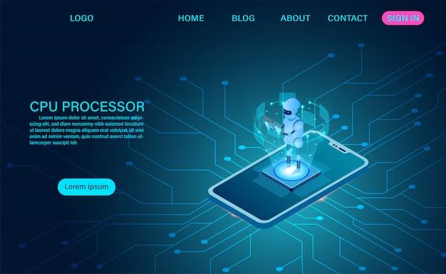 Tecnologia robot di intelligenza artificiale. elaborazione di grandi quantità di dati, banner isometrico processore cpu. neon scuro di vettore isometrico