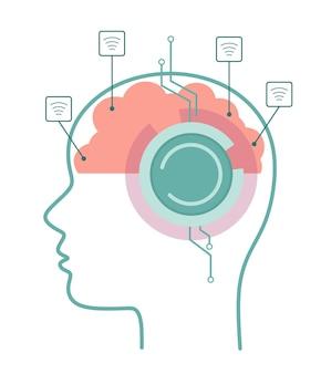 Intelligenza artificiale con esecuzione di attività di rete neurale e riproduzione del concetto di tecnologia vettoriale