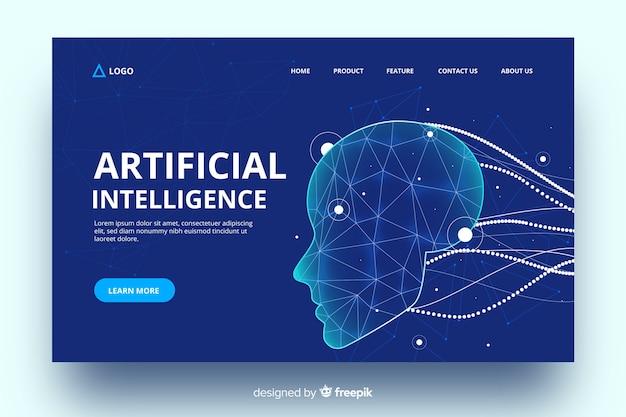 Intelligenza artificiale con landing page di cavi virtuali