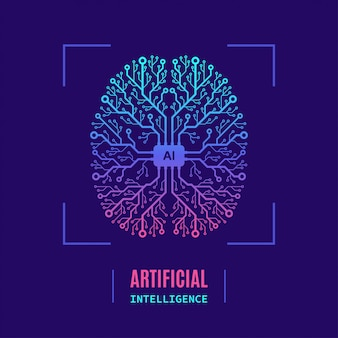 Banner di concetto intelligente artificiale, design in stile piatto