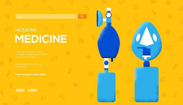 Volantino di concetto di dispositivo di ventilazione polmonare artificiale, banner web, intestazione dell'interfaccia utente, entra nel sito. .