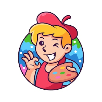 Fumetto dell'artista con posa carina. illustrazione dell'icona. persona icona concetto isolato