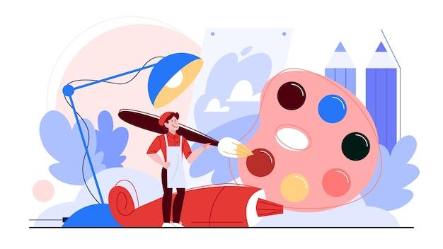 Illustrazione del concetto di artista. idea di persone creative.