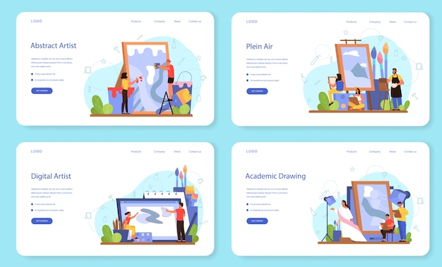 Banner web di concetto di artista o set di pagine di destinazione. idea di persone creative e professione. plein air, arte digitale, disegno accademico e astratto.