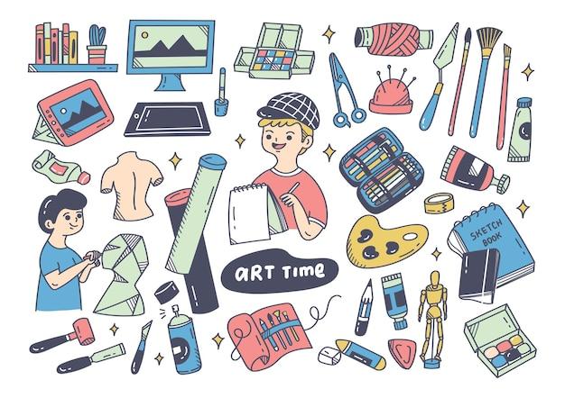 Artista e le attrezzature doodle elemento