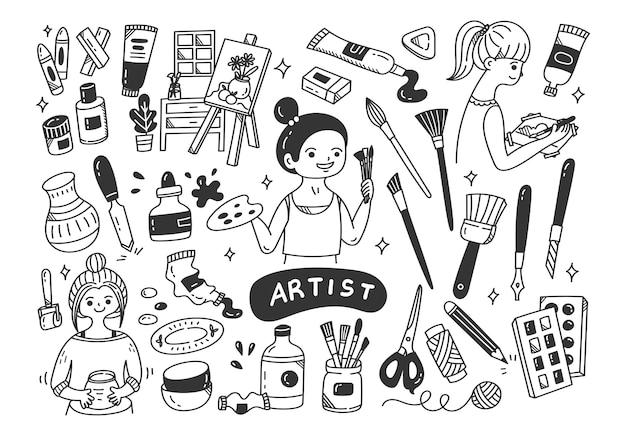 Artista e le attrezzature scarabocchiano