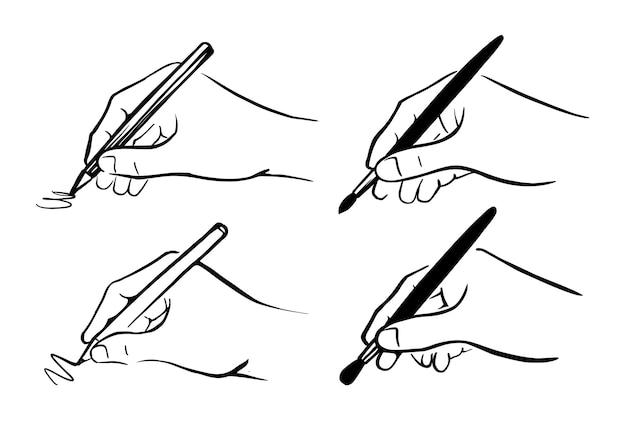 Mani dell'artista con penna e pennello.