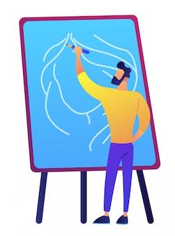 Artista che tiene una matita e che attinge a bordo l'illustrazione di vettore.