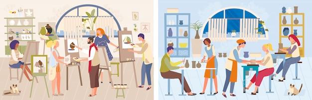 Illustrazione di master class artista, formazione di carattere pittore uomo donna fumetto, disegno, set di landing page di ceramica artigianale