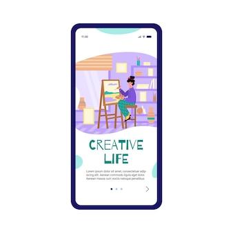 Artista che dipinge il paesaggio come hobby per l'illustrazione piana di vettore del fumetto dell'app