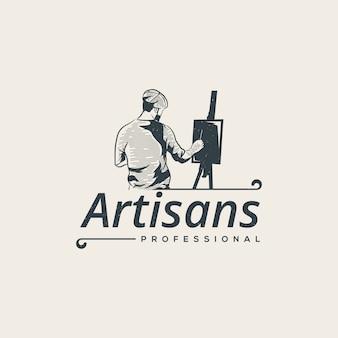 Modello di logo di pittura dell'artista